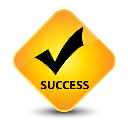 Success yellow diamond button photo