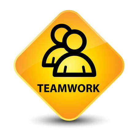 Bot�n de diamante amarillo Trabajo en equipo photo