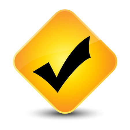 Validate icon yellow diamond button photo