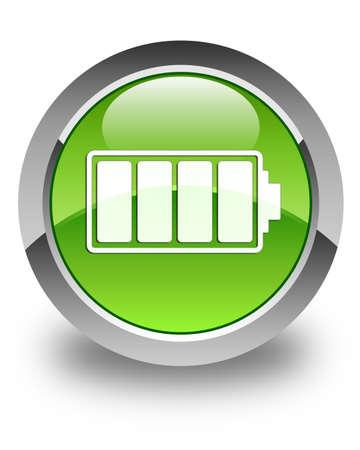 Battery icon glossy green round button 版權商用圖片