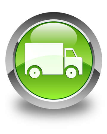 Delivery truck icon glossy green round button