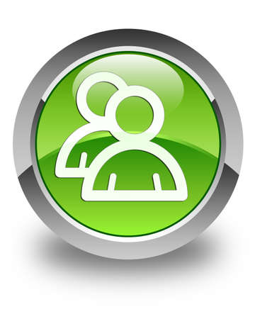 groupware: Group icon glossy green round button