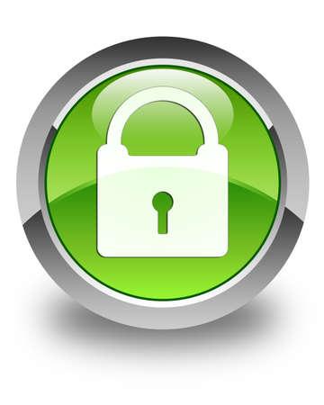 자물쇠 아이콘 광택 녹색 둥근 버튼 스톡 콘텐츠 - 28771331