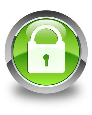 safeguard: Padlock icon glossy green round button