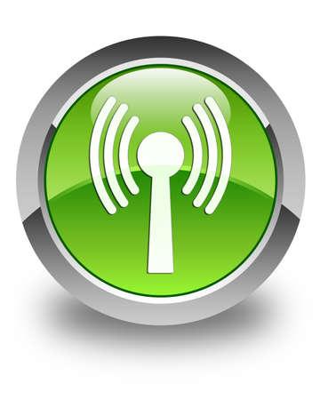 wlan: Wlan network icon glossy green round button Stock Photo