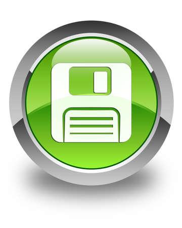 floppy disk: Floppy disk icon glossy green round button