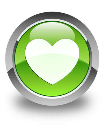 Heart icon glossy green round button photo