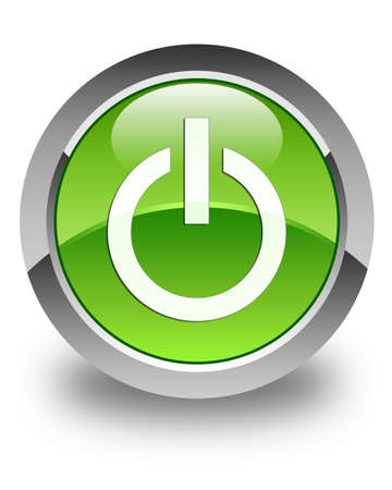 Power icon glossy green round button