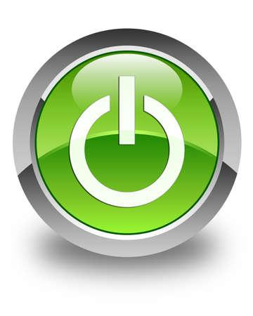 shutdown: Power icon glossy green round button