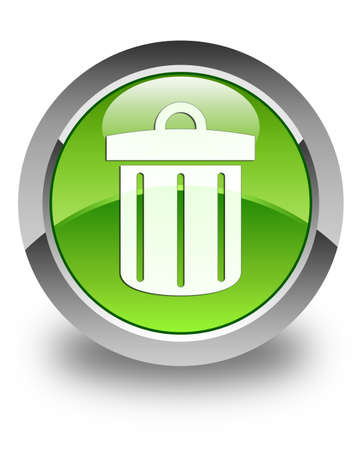 Recycle bin icon glossy green round button photo