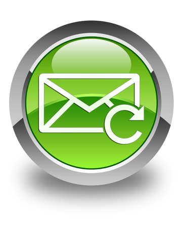 Refresh email icon glossy green round button photo