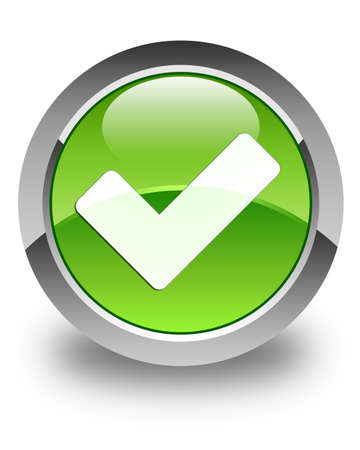 green check mark: Validate icon glossy green round button Stock Photo