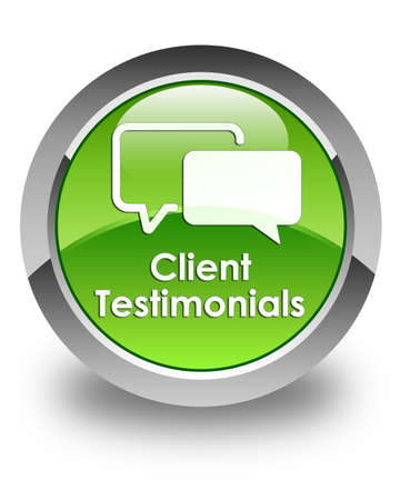Client testimonials glossy green round button photo