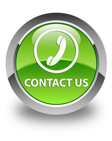 3d contact us: Contact us  phone icon  glossy green round button Stock Photo