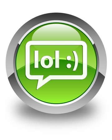 lol: Lol bubble icon glossy green round button Stock Photo