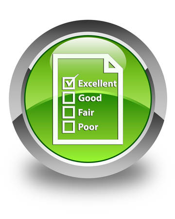 satisfy: Questionnaire icon glossy green round button