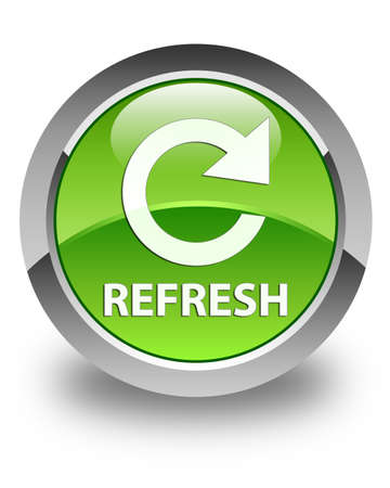 Refresh  rotate icon  glossy green round button