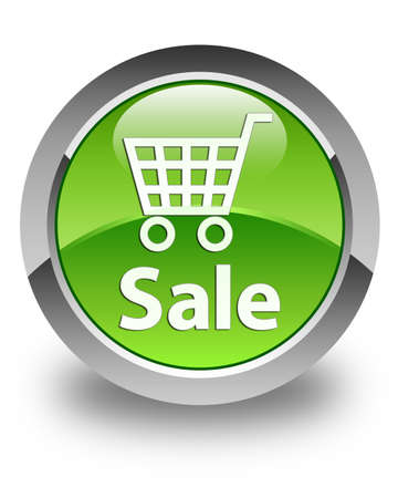 Sale glossy green round button Stock Photo - 28774329