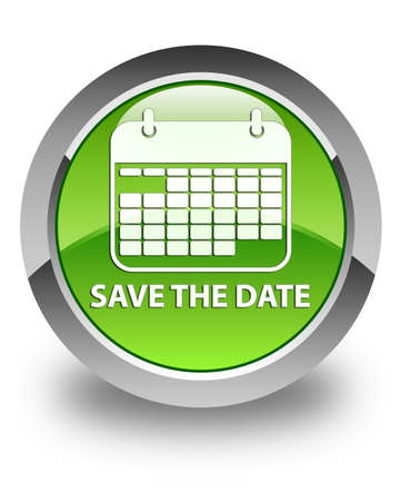 Save the date glossy green round button photo