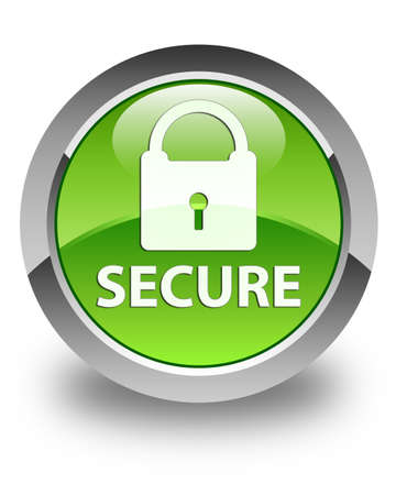 Secure glossy green round button photo
