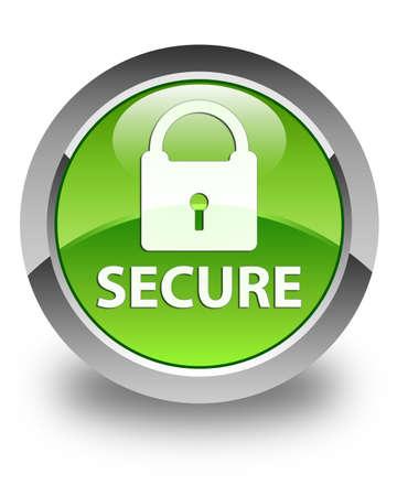 Secure knop glanzend groene ronde Stockfoto
