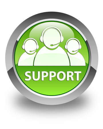 handling: Support  customer care team icon  glossy green round button