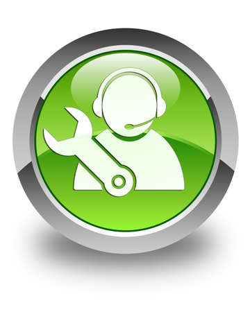 customer care: Tech support icon glossy green round button