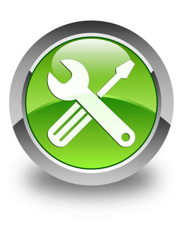technical service: Tool icon glossy green round button