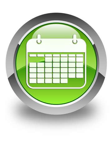 Calendar icon glossy green round button