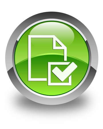 Checklist document icon glossy green round button photo