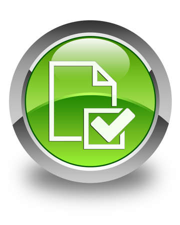 valid: Checklist document icon glossy green round button Stock Photo