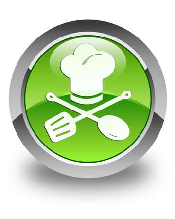 Chef icon glossy green round button photo