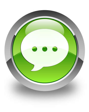Conversation icon glossy green round button photo