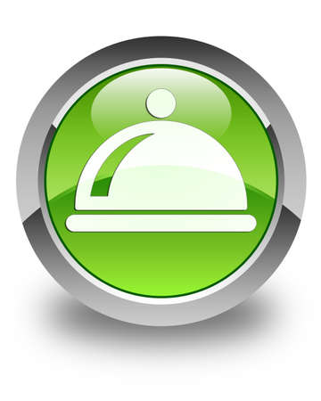 Food dish icon glossy green round button photo