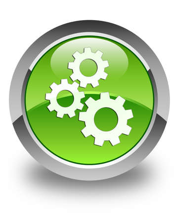 Gears icon glossy green round button photo