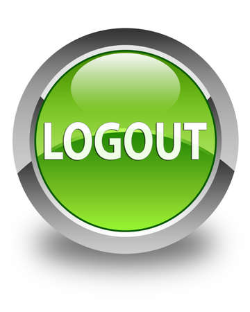 log off: Logout glossy green round button