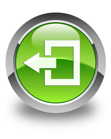 log off: Logout icon glossy green round button