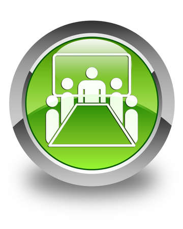 Meeting room icon glossy green round button Stock Photo