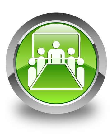 Vergaderzaal pictogram glanzend knop groene ronde
