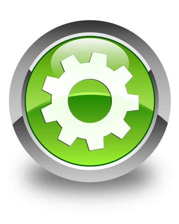 preference: Process icon glossy green round button Stock Photo