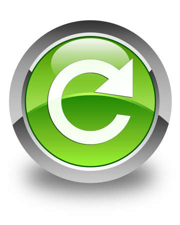 Reply rotate icon glossy green round button Stock Photo