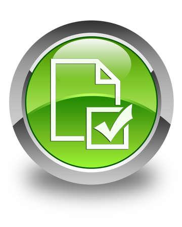 Survey icon glossy green round button photo