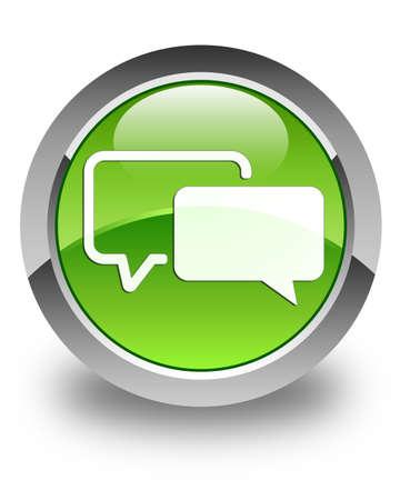 Testimonials icon glossy green round button photo