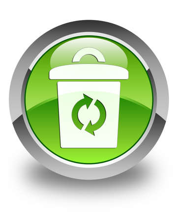 Trash icon glossy green round button photo