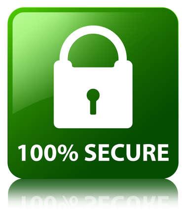 100% secure green square button photo
