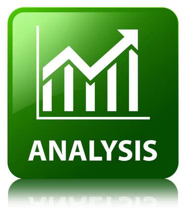 Analysis (statistics icon) green square button photo