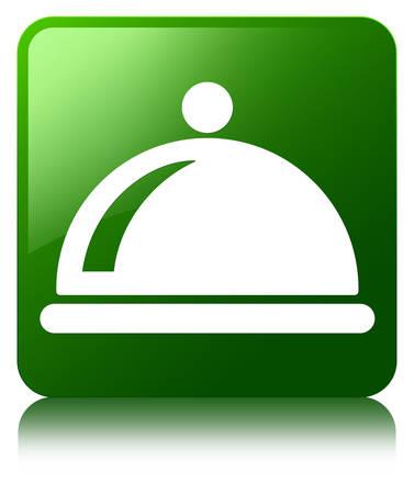 Food dish icon green square button photo