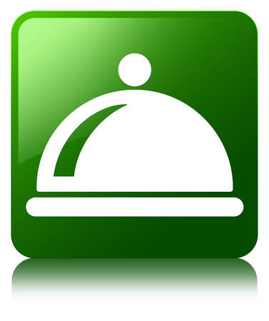 Food dish icon green square button photo