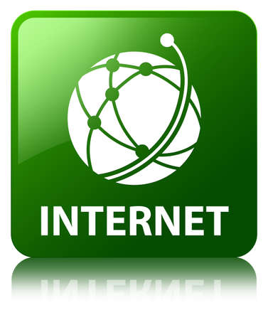 Internet (global network icon) green square button Stock Photo