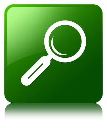 Magnifying glass icon green square button photo